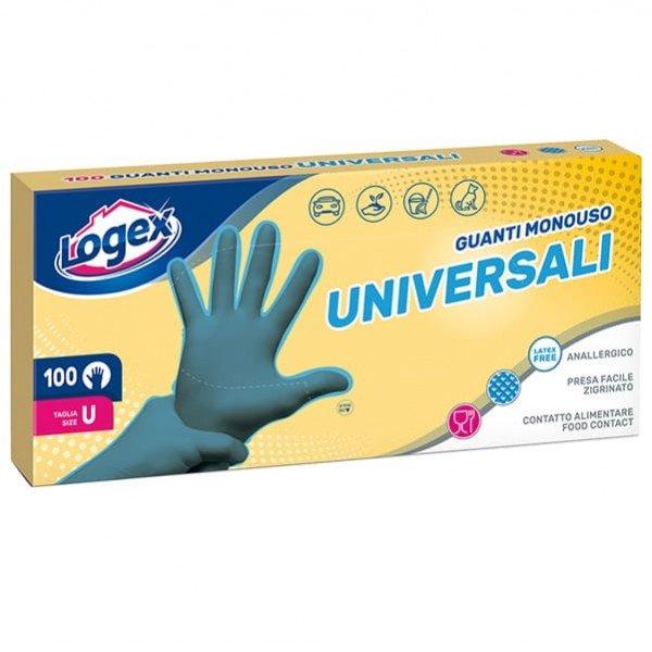 Guanti - polietilene clorurato anallergico - riciclabile - taglia universale - azzurrro - Logex Professional - scatola da 100 pezzi